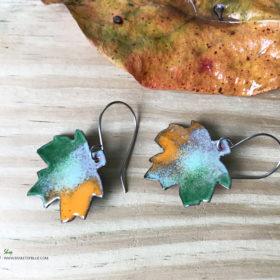 colorful enameled copper maple leaf earrings