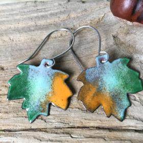 enameled copper maple leaf earrings