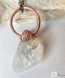 Citrine electroformed copper pendant