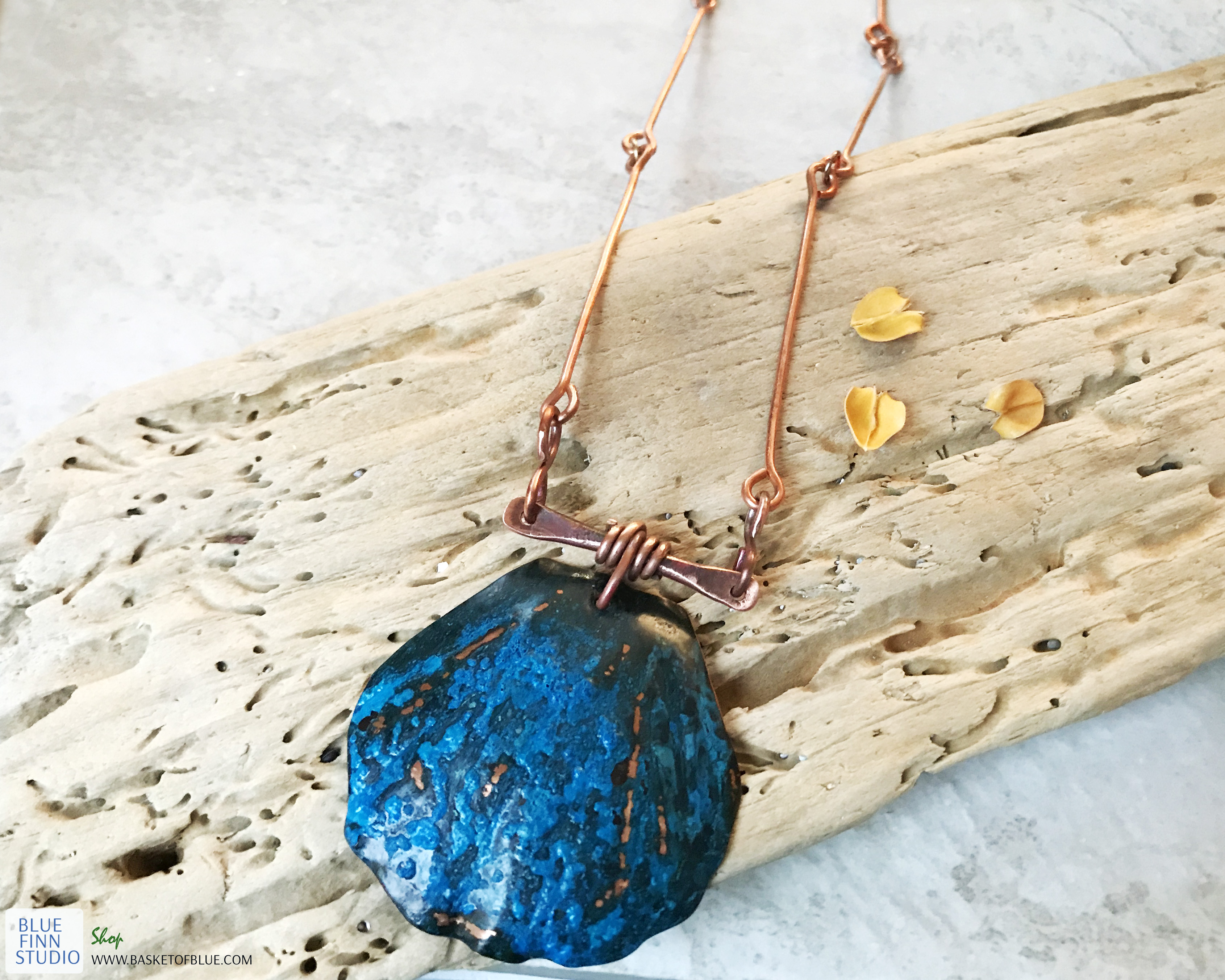 copper patina shell necklace