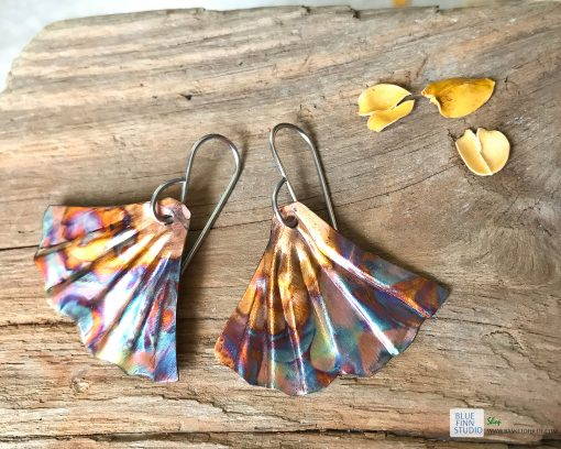 ginkgo leaf earrings flame painted copper