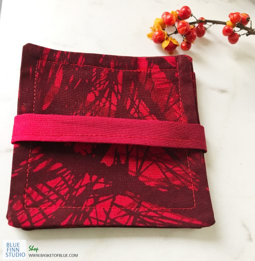red marimekko fabric coasters