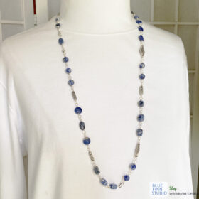 long blue sodalite bead necklace