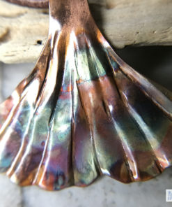 Ginkgo leaf flame painted copper necklace