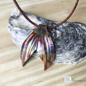 Copper flame painted mermaid tail necklace