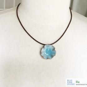 blue water pod necklace enameled copper