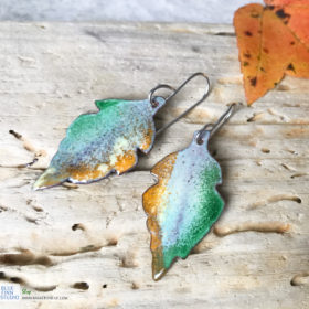 fall leaf enamel earrings