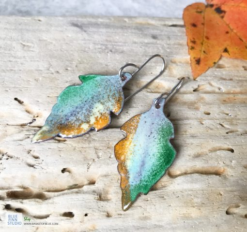 fall leaf enamel earrings