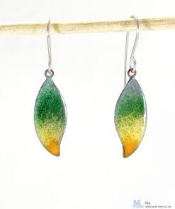 colorful enamel leaf earrings