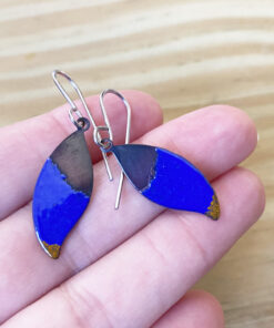 blue small enamel leaf earrings