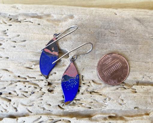 blue small enamel leaf earrings