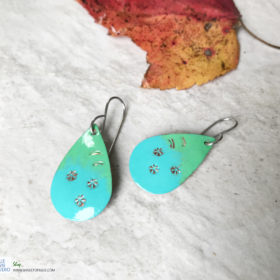 blue green painted oval earrings