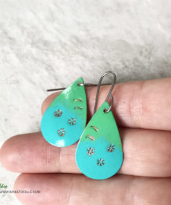 blue green hand painted oval earrings