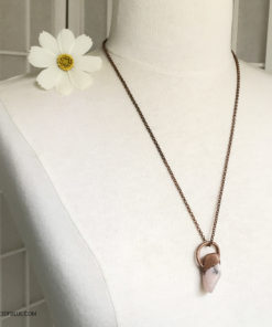 electroformed copper pink opal necklace