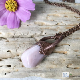 electroformed copper pink opal necklace
