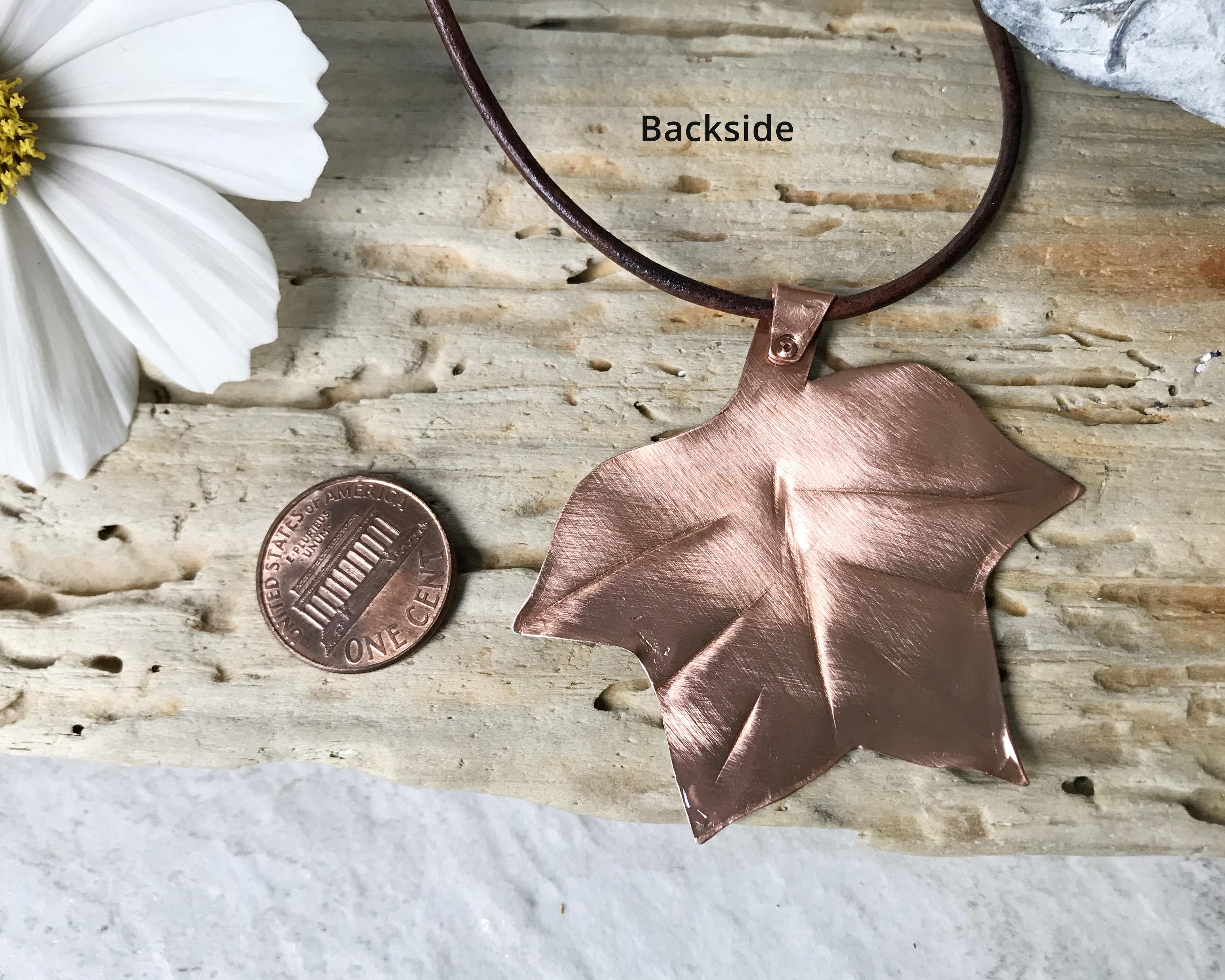 copper verdigris painted tulip tree leaf pendant