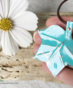 copper verdigris painted tulip tree leaf pendant
