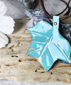copper verdigris painted tulip tree leaf pendant necklace