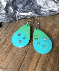 blue green painted oval earrings