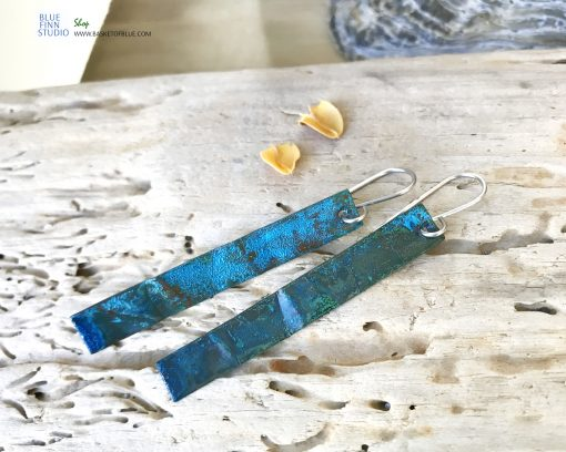 long blue copper patina earrings