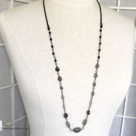 blue long gemstone bead necklace