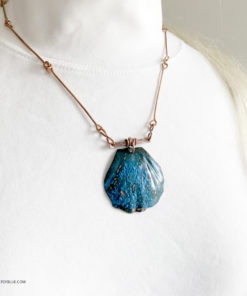 Blue copper patina shell necklace