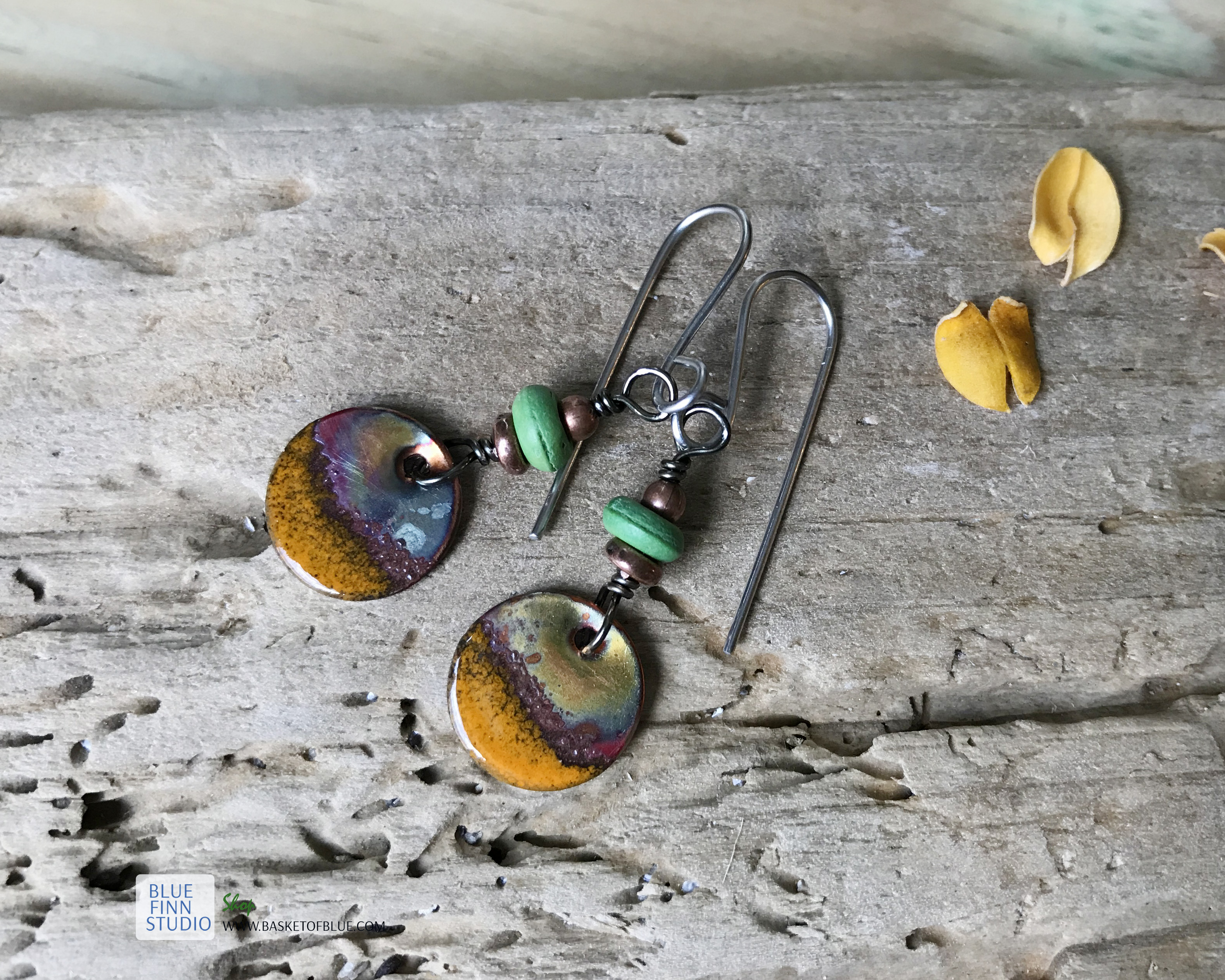 rustic patina orange round enamel dangle earrings