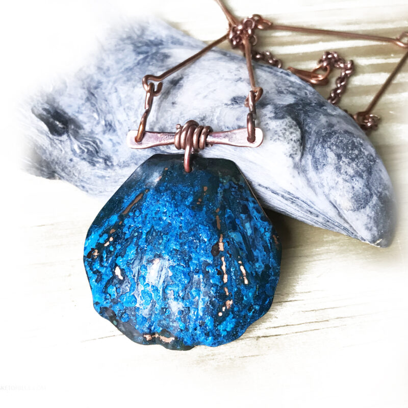 copper blue patina shell necklace