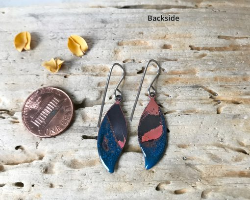 small blue leaf earrings