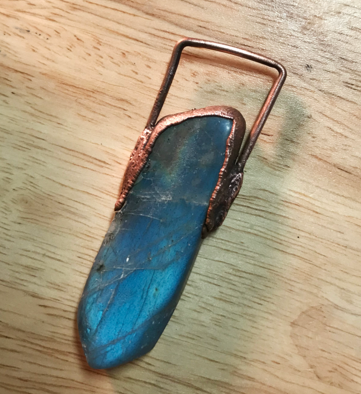 labradorite hand cut stone - electroformed with copper
