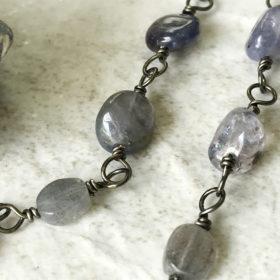 blue long gemstone bead necklace
