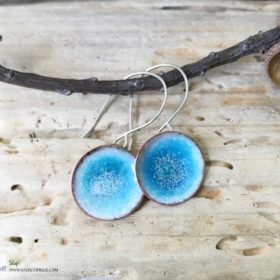 blue round water pod earrings enameled copper