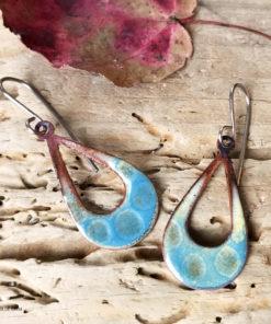 blue open teardrop textured enamel earrings