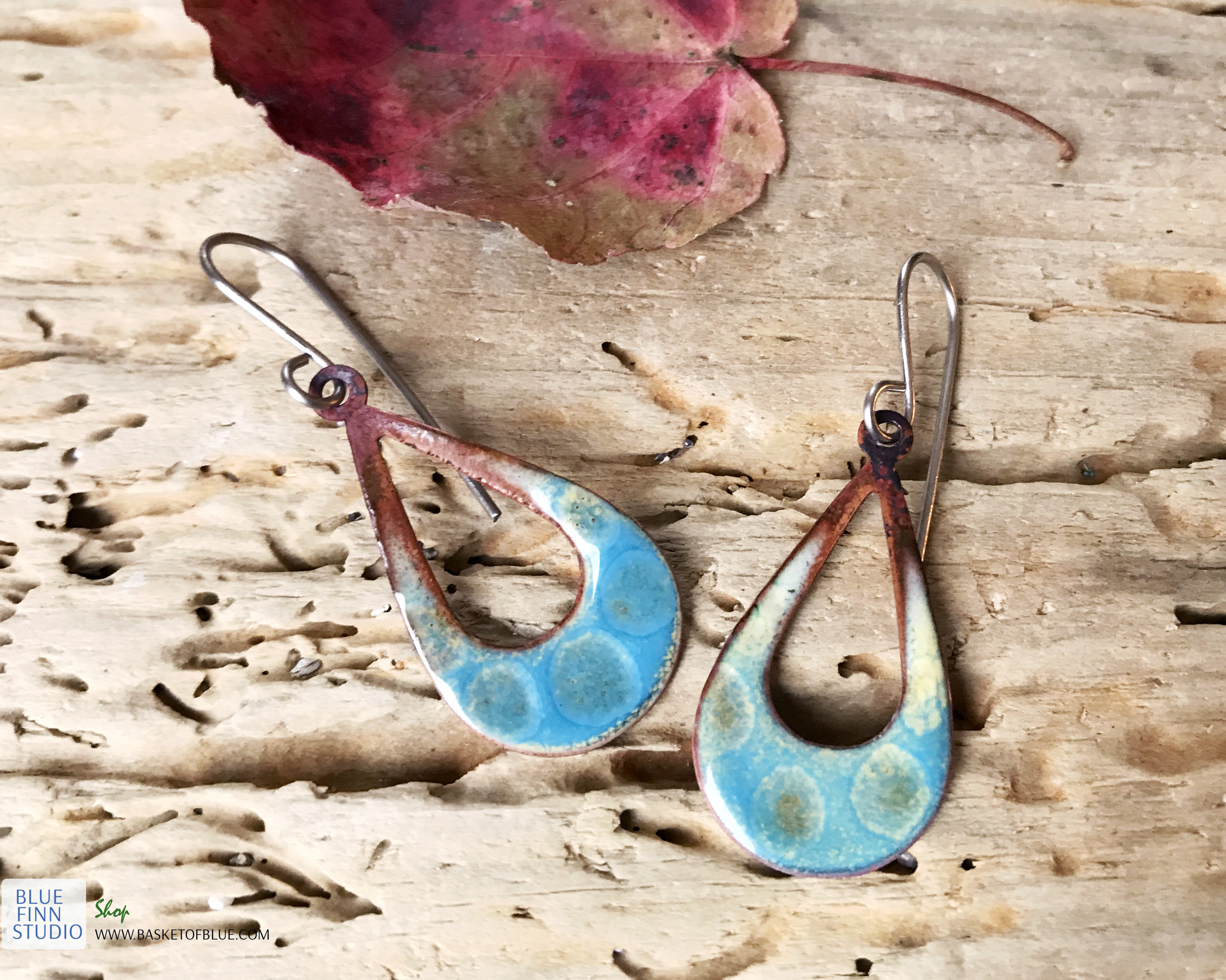 blue open teardrop textured enamel earrings