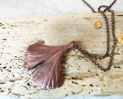 electroformed copper ginkgo leaf necklace