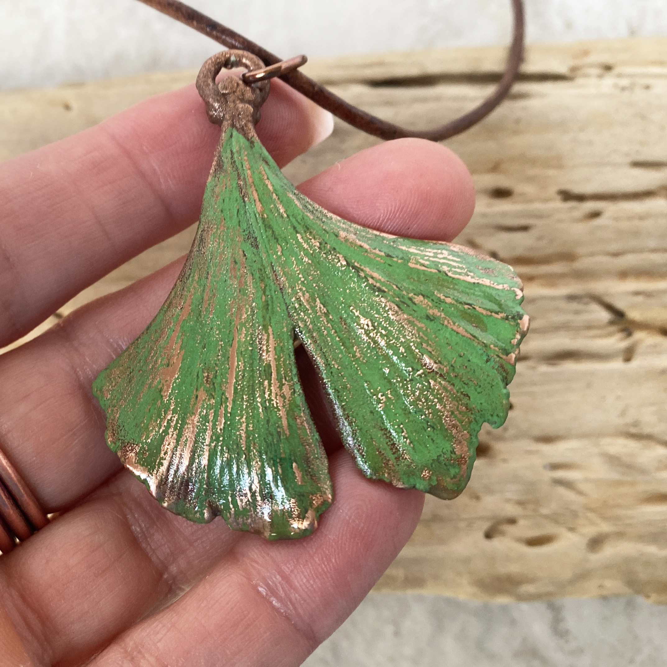 Electroform leaf with turquoise necklace.