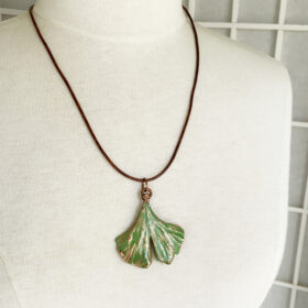electroformed ginkgo leaf necklace copper ginko