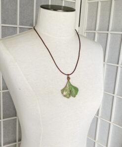 electroformed ginkgo leaf necklace copper ginko