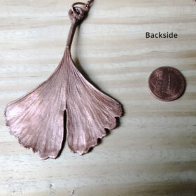 electroformed copper ginkgo leaf necklace
