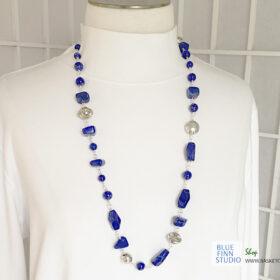 lapis lazuli long blue bead necklace