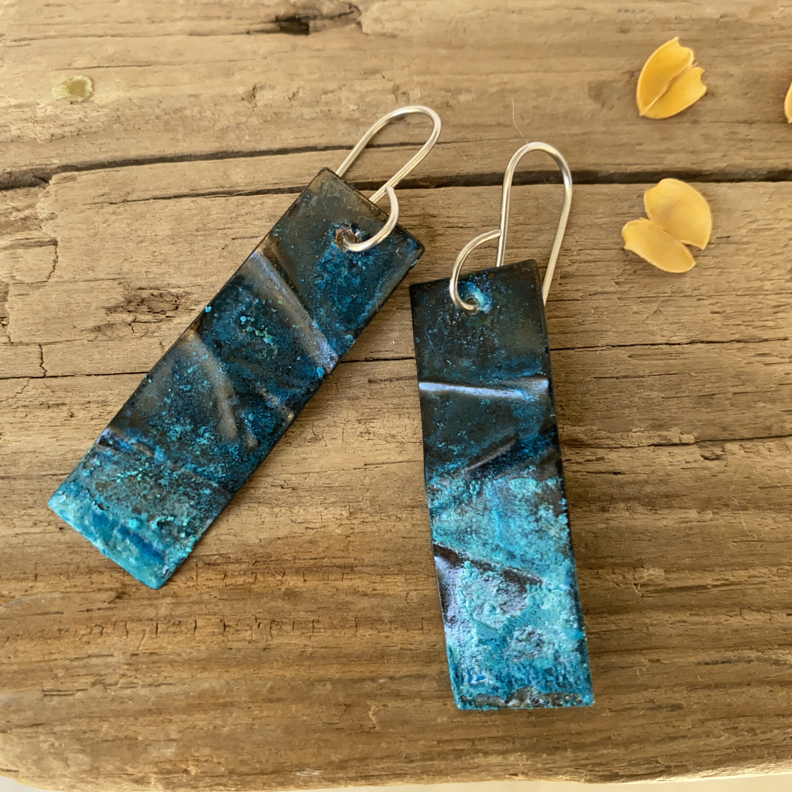 blue rustic rectangle copper patina earrings