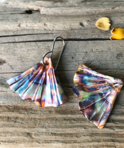 ginkgo leaf flame painted copper earrings