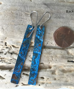 long blue copper patina earrings