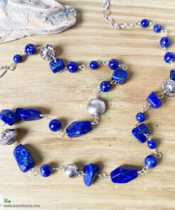 lapis lazuli long blue bead necklace