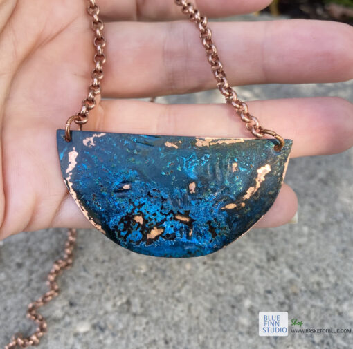 copper patina half moon necklace