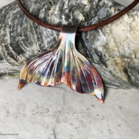 copper flame painted whale tail