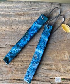 copper blue patina verdigris long rectangle earrings