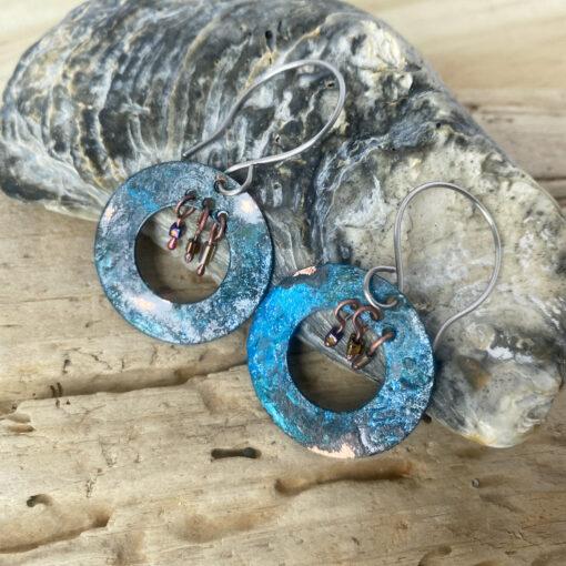 BLUE PATINA copper boho hoop earrings