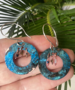 BLUE PATINA copper boho hoop earrings