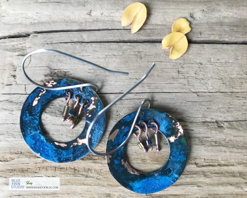 blue patina hoop earrings
